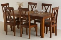 Crossed Six Chairs Dining Set